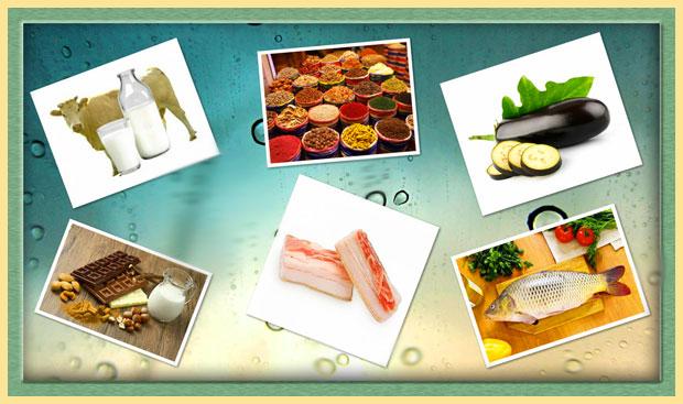 Коровье молоко, специи, овощи, сало, рыба, сладости