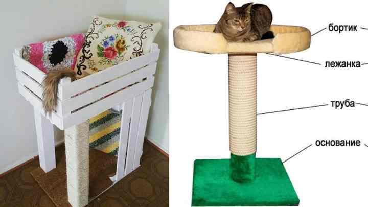Можно соорудить домик-лежанку с когтеточкой